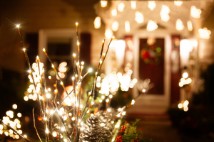 Holiday House with Lights Stock Photo